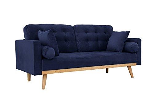 Casa Andrea Milano llc Mid Century Modern Tufted Upholstered Fabric Sofa Couch, Deep Blue Velvet