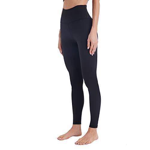 Mipaws Sport Damen Leggings High Waist Full-Length Yoga Hose Blickdicht Fitnesshose(38/S, schwarz)