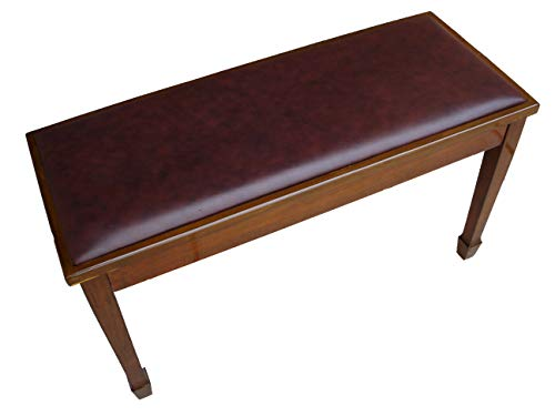 Genuine Leather Walnut Concert Grand Duet Piano Bench Stool with Music Storage