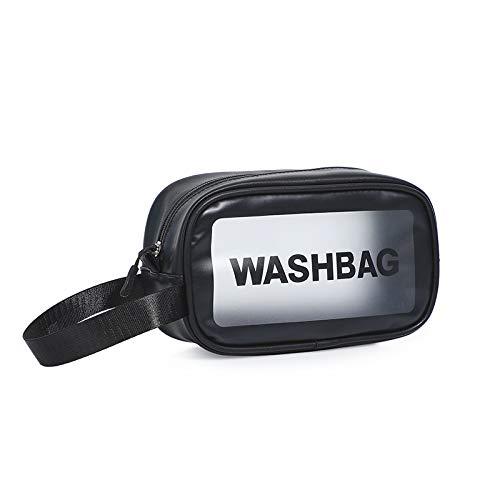Große Kulturtasche, Tragbare Multifunktionale Transparente Pu-Kosmetiktasche 22 * 8 * 13cm Schwarze Trompete