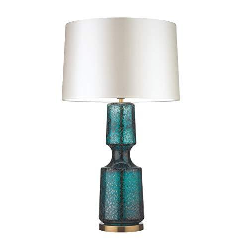 Dongyd Moderne Tischlampe mit Glasfuß und Stoffschirm Nachttischlampe amerikanisches Wohnzimmer Schlafzimmer Arbeitszimmer kreative Schreibtischlampe (Color : A, Size : 37cm*70cm)