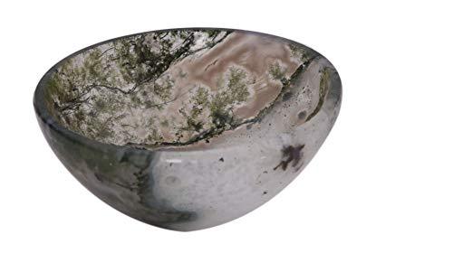 Blessfull Healing Piedra de ágata dendrítica tallada hecha a mano Cuenco de Feng Shui Generador de energía espiritual Reiki Regalo Curación Cristal cargado I 2 pulgadas Aprox.