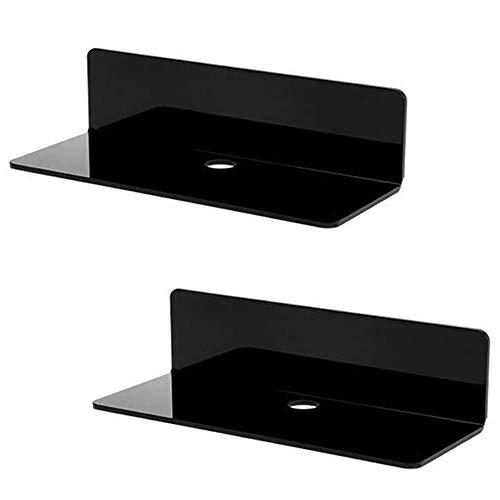 Originalidad Wandregale aus Acryl, schwebend, ohne Bohren, 3M selbstklebende Displayregale für Wecker, kabelloser Lautsprecher, Nintendo Switch, Videospiele (Set von 2)