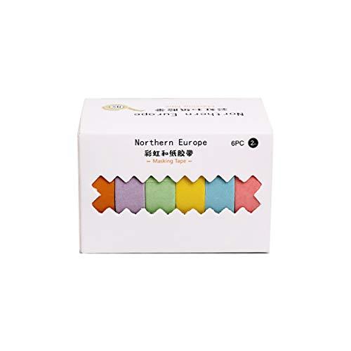 Mengmengda 6 unids/caja de papel de color sólido Washi Tape Set Scrapbook adhesivo etiqueta DIY Diario Planificador Artesanía Decorativa