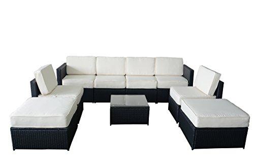 MCombo Cozy Outdoor Garden Patio Rattan Wicker Furniture Sectional Sofa (Creme White) 6085
