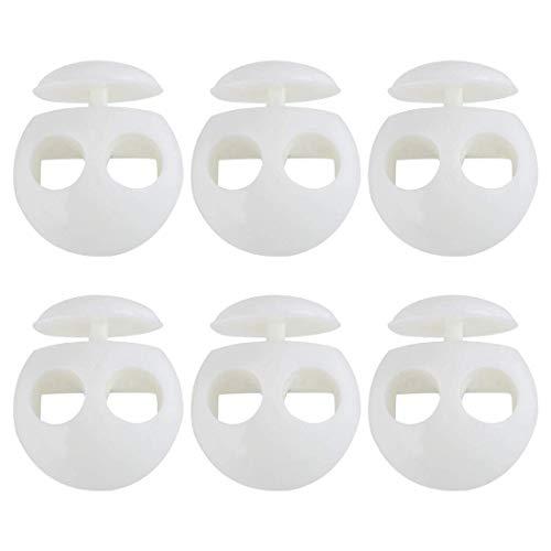 YeVhear - 6 piezas de plástico con cierre de clip para la primavera, parada, doble agujero, zapatilla, tope de cuerda fina para cordón de ropa, cordones, bolso, camping, color blanco