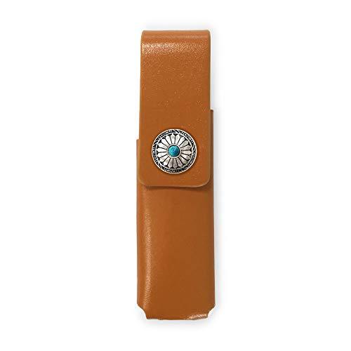 IQOS 3 MULTI 専用 アイコス3 コンチョ 本革 マルチ ケース (ライトブラウン/ネイティブコンチョ09) iQOSケース シンプル 無地 保護 カバー 収納 カバー 全4色 電子たばこ 革