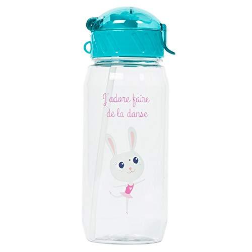 Draeger - Gourde pour Enfant Petite danseuse - Bouteille Réutilisable Illustrée - Gourde Enfant avec Paille - Sans BPA - Passe au Lave-Vaisselle