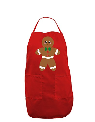 Cute Gingerbread Man Christmas Dark Adult Apron - Red - One-Size