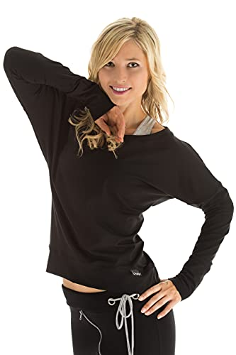 WINSHAPE Damen Longsleeve Freizeit Sport Dance Fitness Langarmshirt, schwarz, XL