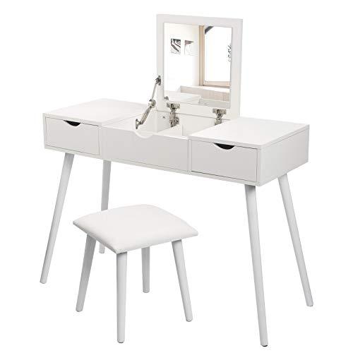 Laneetal Juego de Tocador de Maquillaje y Taburete Mesa Moderno con Espejo Plegable como Escritorio 100x40x75cm, 2 Cajones Blanco 0590006