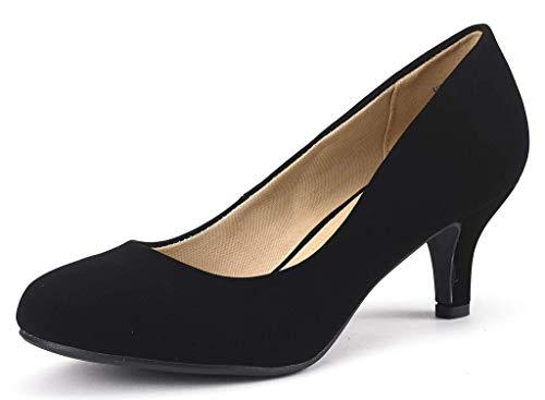 DREAM PAIRS Women's Luvly Black Nubuck Bridal Wedding Low Heel Pump Shoes - 9 M US
