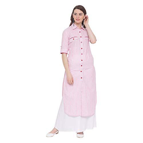 Indian Virasat Pink Colored Cotton Striped Printed Pocket