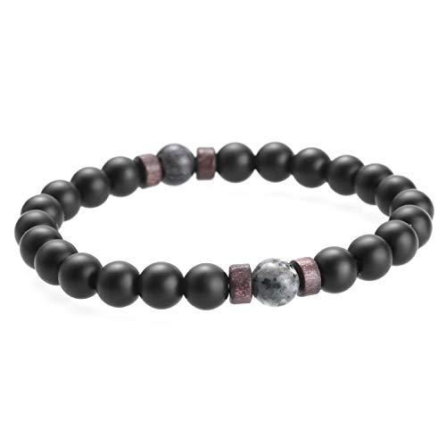WWWL Pulsera para hombre, piedra lunar natural, pulsera de Buda tibetana, chakra, piedra de lava, difusor de pulseras para hombre, regalo de gota de Pascua