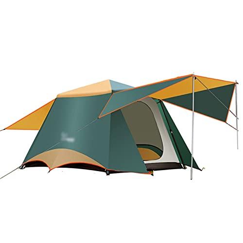 QIAOLI Zelt 3-6 Personen Doppelschicht 2 Halle 1 Zimmer Große Outdoor-Familien-Partyzelte Big Space Wasserdicht Anti-UV-Campingzelt Kuppelzelte (Color : Dark Green)