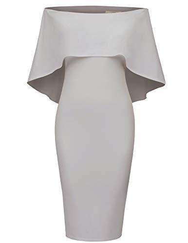 GRACE KARIN Women Off Shoulder Batwing Cape Midi Dress M Grey