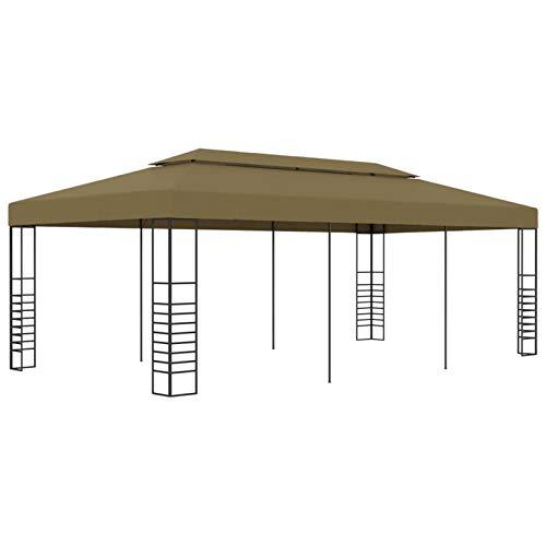 Tidyard Carpas y cenadores para Patio Cenador para Patio Pérgolas de jardín Cenador de jardín 6x3x2,7 m Gris Taupe 180 g/m²