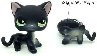 Littlest Pet Shop Black Short Hair cat #336 LPS Green Eyes Kitty Toys