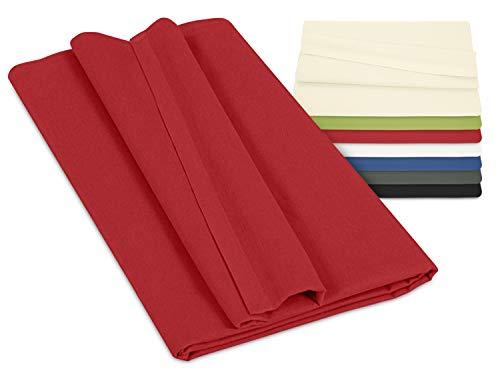 npluseins Betttuch - Haustuch - Bettlaken - aus 100% Baumwolle in 7 ausgesuchten Farben - Laken ohne Gummizug - Einheitsgröße von ca. 150 x 250 cm, rot