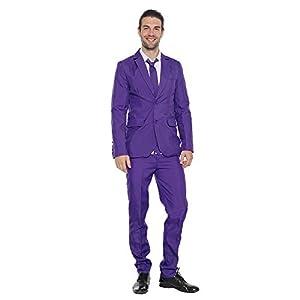 EraSpooky スーツメンズ ギャングスーツ 上下セット ビジネススーツ 結婚式 パーティー 就職 大人男性用 コスチューム パープル L