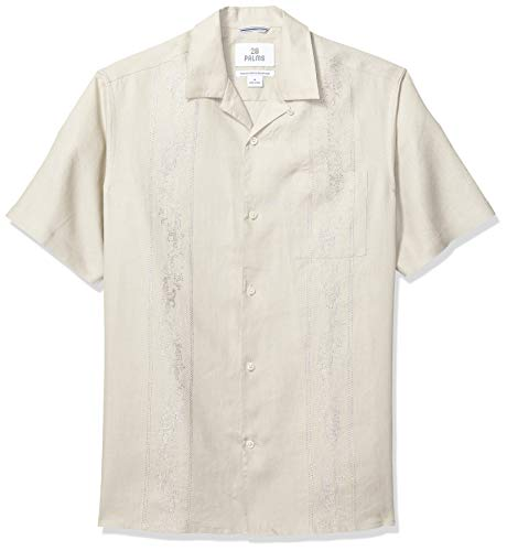 28 Palms Men's Relaxed-Fit Short-Sleeve 100% Linen Embroidered Guayabera Shirt, Natural, X-Large