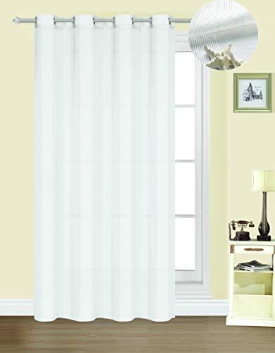 Forentex Cortinas Confección B-0576 Visillos Translúcida para Ventanas/Puertas, Polyester, Blanco, 300x260 cm