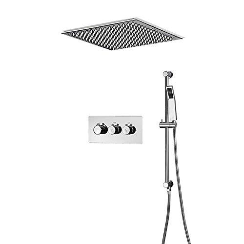 WY-YAN Baño termostático de ducha con ducha de lluvia y Wall Mounted portátil, de alta presión precipitaciones grifo de la ducha Conjunto de Conjunto de baño, fácil de controlar la presión del agua y