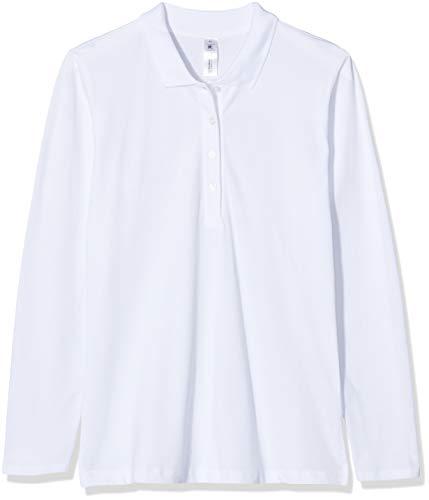 B&C Damen Womens Safran Pure Long Sleeve Polo Poloshirt, Weiß (White 000), 40 (Herstellergröße: Large)