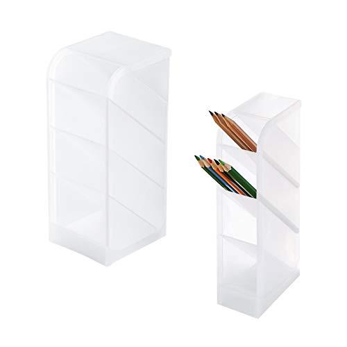 Uymaty Soporte de almacenamiento para bolígrafo blanco translúcido de 2 piezas,juego de organizador de escritorio con 4 compartimentos,organizador de escritorio,tubo de taza para oficina