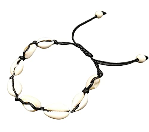 CHXISHOP Pulsera de concha natural collar tobillera para mujer, ajustable, hecha a mano, pulsera tejida a mano, negro