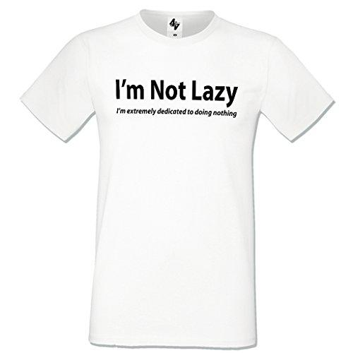 4sold - Camiseta - Cuello redondo - para hombre blanco white Lazy Small