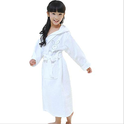 ADDG Toalla de baño infantil con capucha de algodón, absorbente de sudor, albornoz infantil, toalla de baño de dibujos animados, adecuada para 3 a 12 años, color blanco, S