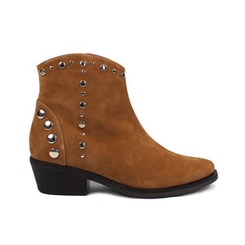 California Cowboy-laarzen, bruin, voor dames, winter, comfortabel, met klinknagels, rubberen antislipzool, wildleer, kaneelbruin