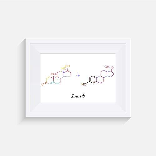 Molekül Testosteron + Östrogen (Lust) Inspirier - Drucken - Poster - Aquarell - Wandkunst- verschiedene Größen(Rahmen Nicht Inbegriffen)