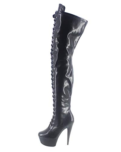 WONDERHEEL Damen Fetisch Over-Knee Plateau Stiefel Schwarz 41.5 EU