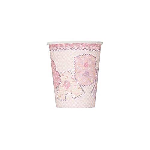 Party Savvy Lot de 8 gobelets en papier Motif imitation couture Rose