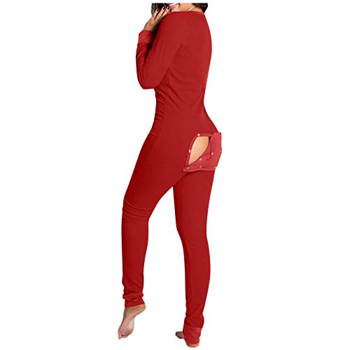 Damen Jumpsuit Onesie Overall Einteiler Pyjama Schlafanzug Trainingsanzug Ganzkörperanzug Hausanzug Geknöpfter Klappen Overall Button-down-Jumpsuit vorne Homewear