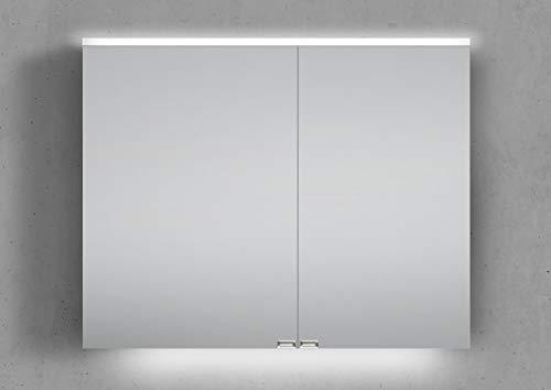 Intarbad ~ Spiegelschrank 90 cm integrierte LED Beleuchtung doppelt verspiegelt Weiß Hochglanz Lack IB5286