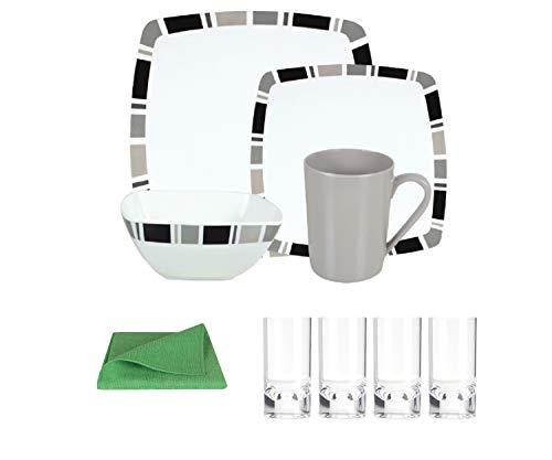 Moritz Vaisselle de camping en mélamine pour 4 personnes Carre Design + 4 verres transparents + 1 chiffon en microfibre vert
