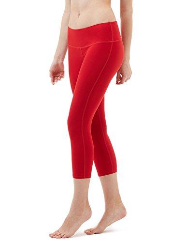 TSLA Women's Capri Yoga Pants, Workout Running Tights, 4-Way Stretch Leggings with Hidden/Side Pocket, Capris Midwaist Red, Medium