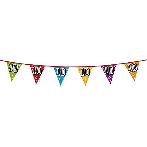 Boland 30010 - Holografische Wimpelkette Zahl 10, 1 Stück, Länge 800 cm, Fahnenkette, Sterne, Hängedekoration, Mehrfarbig, Girlande, Mottoparty, Geburtstag, Jubiläum