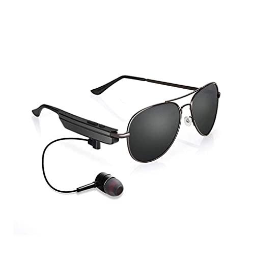 EREW Gafas de Sol Bluetooth, Gafas de Sol para Escuchar música y Hacer Llamadas telefónicas, Resistencia al Agua y protección de Lentes UV Completa y Compatible