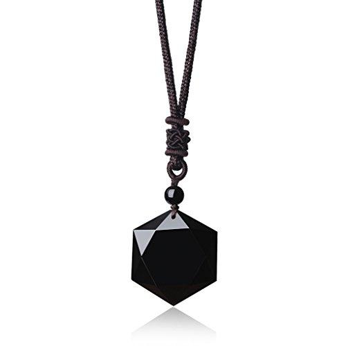 COAI® Collar Ajustable Curación de Piedra Obsidiana con Colgante Amuleto Estrella de David Hexagrama
