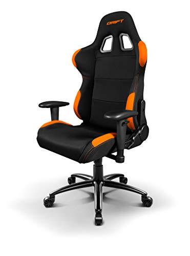 Drift DR100BO - Silla Gaming profesional, tela, reposabrazos 2D, piston clase 4, asiento basculante, altura regulable, respaldo reclinable, cojines lumbar y cervical, color negro/naranja