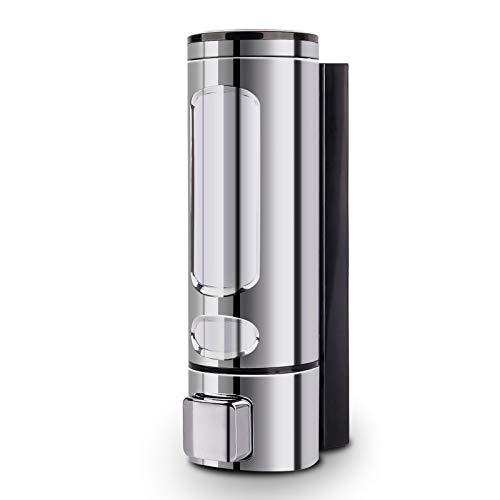 ILIKEPOW Seifenspender Handbuch ABS Wandhalterung für Duschgel, Shampoo oder Handreiniger Flüssigseife 400ml Silber