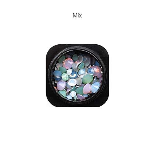 Gouen 1 Bouteille Mélanger Opale Cristal Nail Strass Verre Nail Art Décorations Accessoire, Mélanger