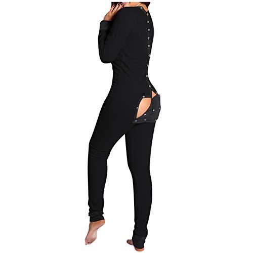 Damen Jumpsuit mit Klappe Rücken Button-Down Loungewear Funktionale Neuheit Einteiliger Damen Pyjama Jumpsuit V-Ausschnitt Langarm Bodycon Strampler Onesies Homeware Nachtwäsche
