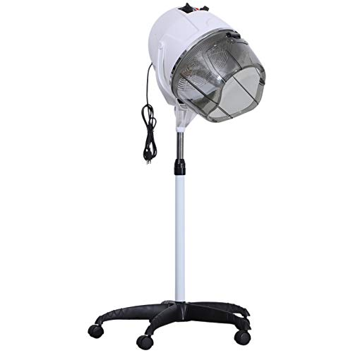 BarberPub Adjustable Hooded Floor Hair Bonnet Dryer Professional Stand Up Rolling Base with Wheels Beauty Salon Spa Equipment VHD08 (Pure White)