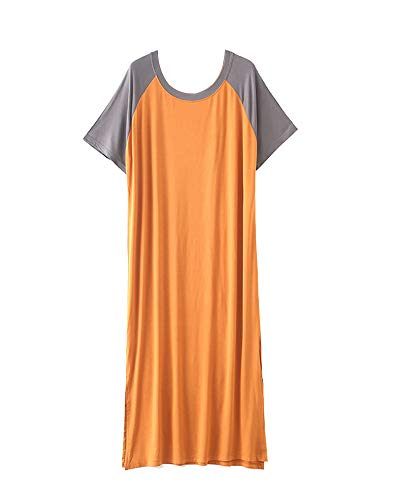 Damen Lang T-Shirt Kleid Kurzarm Lässig Sommerkleider Dunkles Kaki Eisen Grau