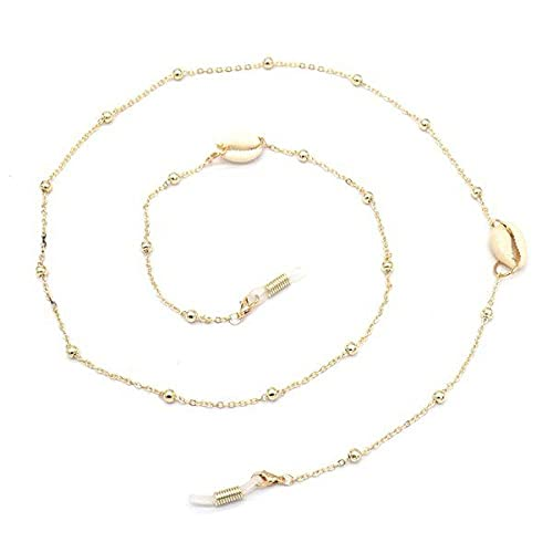 Cadenas de gafas de sol de conchas marinas de 70 cm para mujer, cordón de metal dorado para anteojos, cordón, collar, gafas, con cuentas, correa para el cuello, cadena para gafas, b